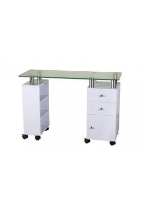 Manikiūro stalas su stikliniu paviršiumi